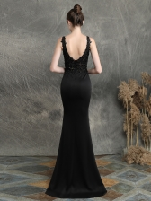 Applique Nail Bead Fishtail Sleeveless Gown