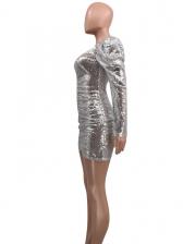 Sexy Deep V Neck Puff Sleeve Sequin Dress