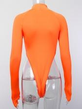 Fashion Letter Reflective High Neck Bodysuits