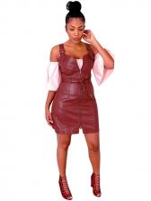 Strap PU Sleeveless Mini Dress