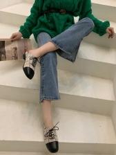Tweed Patchwork Pu Slip On Bare Heel Flat Shoes