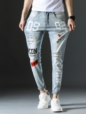 Fashion Letter Fitted Blue Jeans