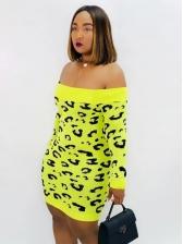 Off Shoulder Leopard Printed Long Sleeve Sweater Dress