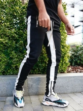 Contrast Color Zipper Hem Track Pants