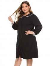 Doll Collar Gauze Patchwork Black Plus Size Dress