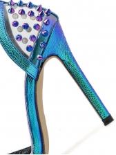 Colored Rivets Ankle Buckle Transparent Stiletto Heels