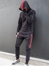 Patchwork Hooded Long Sleeve Mens Activewear
