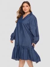 Loose Ruffled Blue Long Sleeve Dress