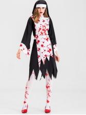 Irregular Hem Blood Nun Costume For Halloween
