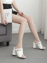 Stone Grain Square Toe Chunky Heel Ladies Slippers