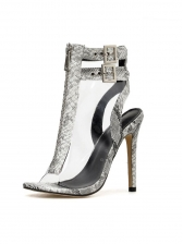 PVC Double Ankle Buckle Snake Printed Stiletto Sandals