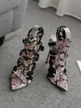 Multiple Crossed Belt Snake Printed Summer Heel Sandal