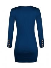 Knitting Long Sleeve Button Split Bodycon Dress