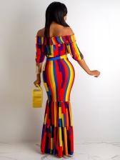Color Block Off Shoulder 2 Piece Maxi Skirt Outfits
