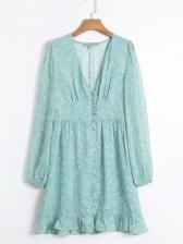 V Neck Ruffled Long Sleeve Short Dress