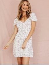 V Neck Short Sleeve Floral Dress