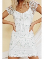 Embroidery Short Sleeve A Line Dress