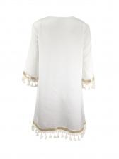 Crew Neck Tassel Short Sleeve Summer Dresses