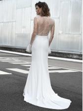 V Neck Gauze Patchwork Long Sleeve Evening Maxi Dresses