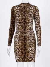 Long Sleeve Animal Printed Bodycon Dress