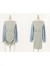 Patchwork Drawstring Long Sleeve Dress Casual
