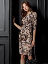Vintage Printed Long Sleeve Bodycon Dress