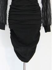 Patchwork Sexy Glitter Irregular Long Sleeve Dress