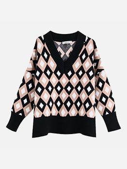 Trellis Jacquard V Neck Sweater