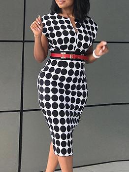 Stylish Polka Dots Short Sleeve Dress
