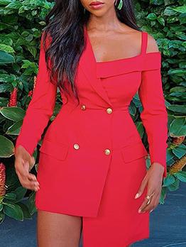 Solid Irregular Shoulder Cut Long Sleeve Dress