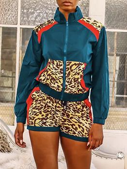 Contrast Color Leopard Patchwork Two Piece Short Set