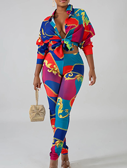 Multicolored Printed Womens Two Piece Sets