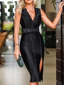 Elegant Line Printed Slit Sleeveless Dress