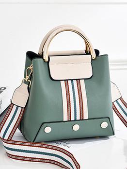 Multicolored Striped Wide Belt Shoulder Bag With Handle