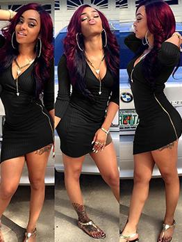 Deep V Neck Black Long Sleeve Bodycon Dress