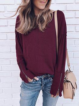 Zipper Cuff Solid Long Sleeve Crew Neck Sweater