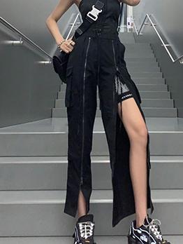 Smart Waist Zipper Split Long Black Pants