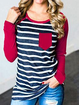 Striped Pocket Decor Long Sleeve T Shirts For Women