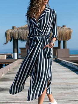 Lapel Collar Striped Tie-Wrap Maxi Shirt Dress