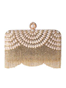 Tiny Rhinestone Tassel Faux Pearls Decor Evening Clutch Bags