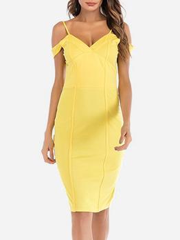 V Neck Backless Yellow Sleeveless Dress