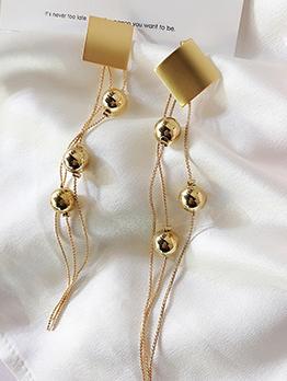 Chic Square Bead Tassel Earring