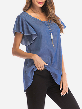 Loose Short Sleeve Denim Blouse