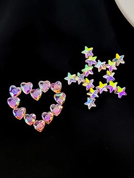 Laser Rhinestone Heart Star Asymmetric Earrings For Women
