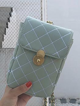 Rhombus Solid Color Mini Crossbody Phone Bag