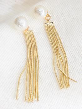 Trendy Matte Pearl Tassel Earrings