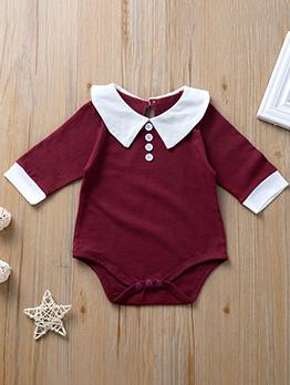 Preppy Style Contrast Color Newborn Romper