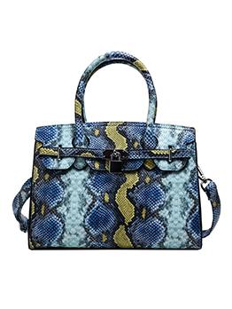 Stylish Contrast Color Snake Printed Ladies Handbags
