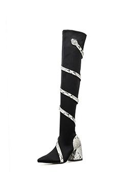 Spiral Snake Printed Black Thigh High Boots