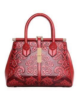 National Style Flower Pattern Large Capacity Handbags